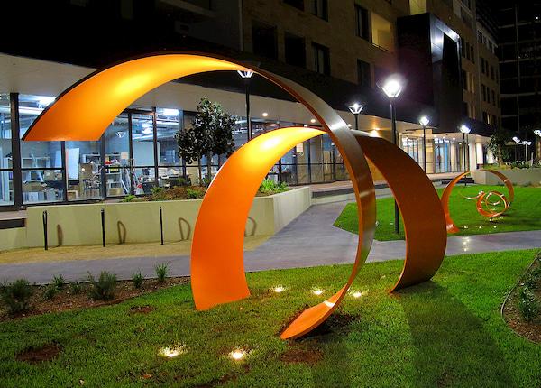 Spiral architectural designs on a park