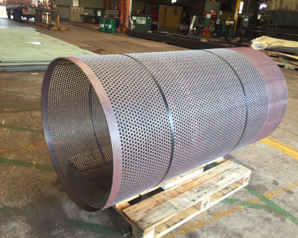 Cylinder steel with holes