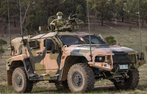 Military car at the forest